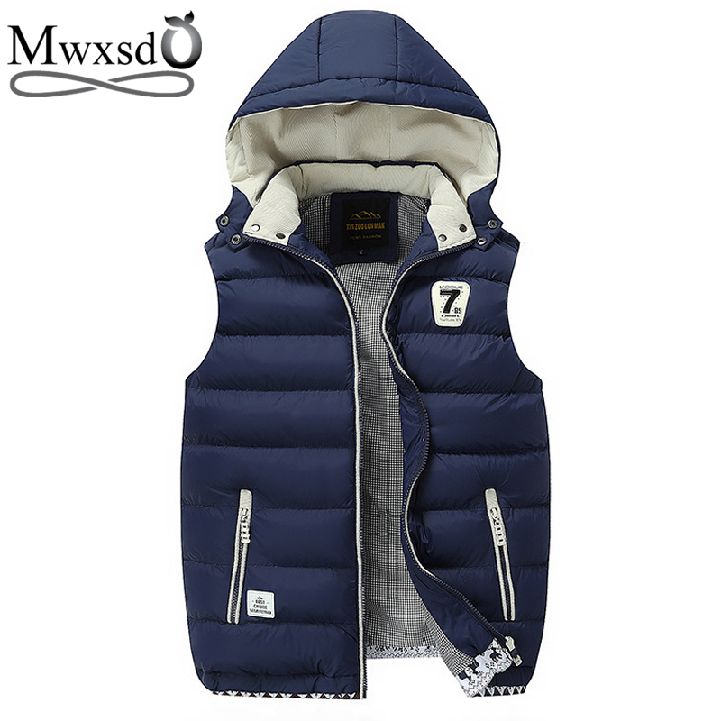 Mwxsd Brand 2019 New Winter Men Hooded warm Vest Outerwear Warm Sleeveless Waistcoat Male cotton Vest Jacket-in Vests & Waistcoats from Men's Clothing    1