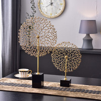 Luxurious Gold Metal Dandelion Shape Statue Modern Living Room Bedroom Hotel Black Crystal Desktop Sculpture For Home Decor Gift