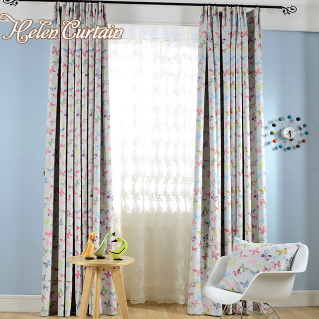 Helen Curtain Butterfly Printed Curtain For Living Room 98% Blackout ...