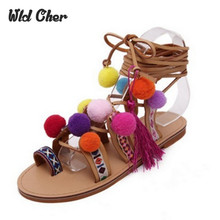 Genuine leather 40 Ethnic Bohemian Summer Woman Pompon Sandals Gladiator Roman Strappy Knee High Boots Embroidered Tassel Shoes