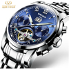 2017 Kinyued Skeleton Tourbillon Mechanical Watch Automatic Men Classic Stainless Steel Mechanical Wrist Watches Reloj Hombre