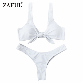 Zaful Swimsuit New Arrival Women Knotted Padded Thong Bikini Mid Waisted Solid Color Scoop Neck Brazilian Biquni Beach Swimwear