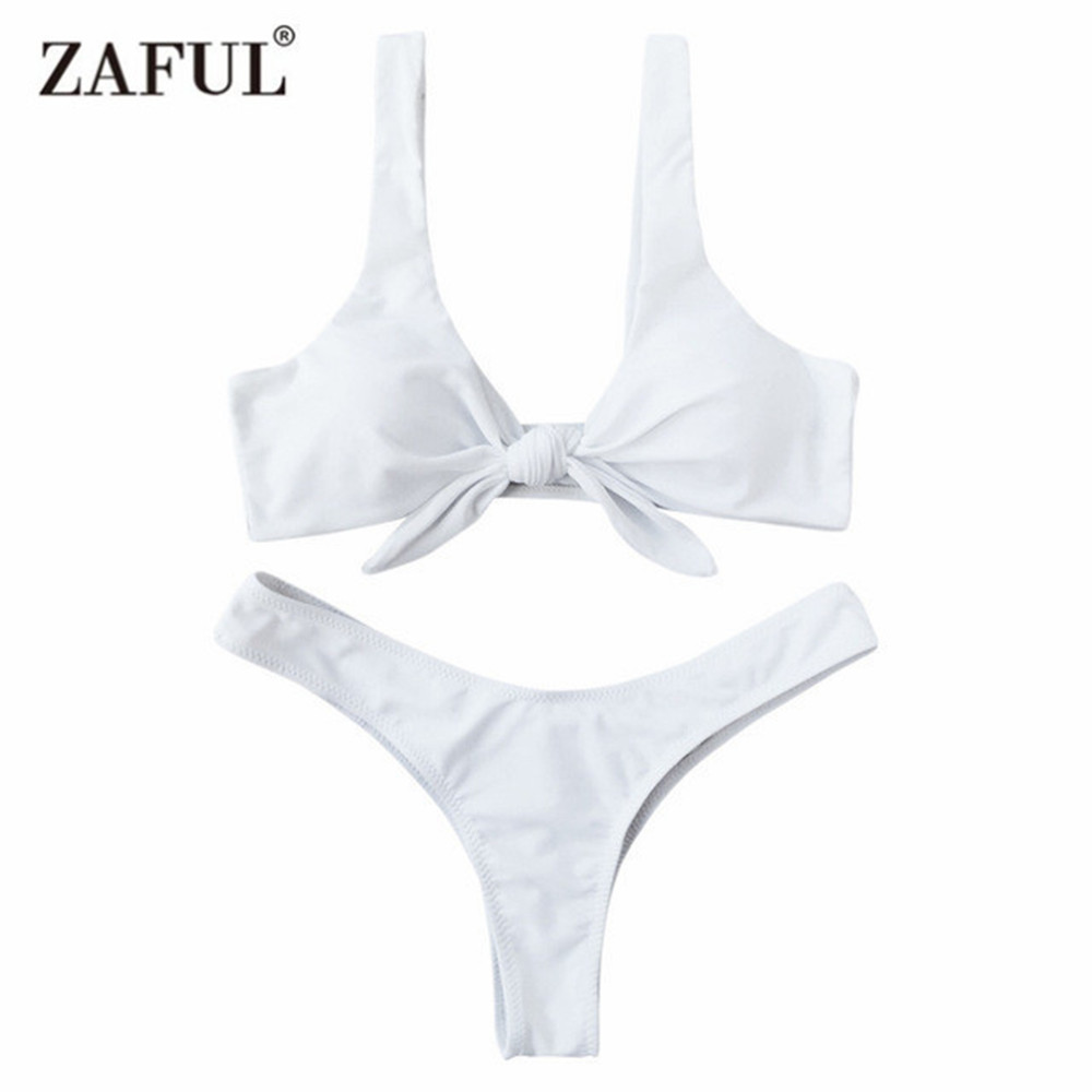 Zaful 2017 New Arrival Women Knotted Padded Thong Bikini Mid Waisted Solid Color Scoop Neck Brazilian Swimsuit Beach Swimwear