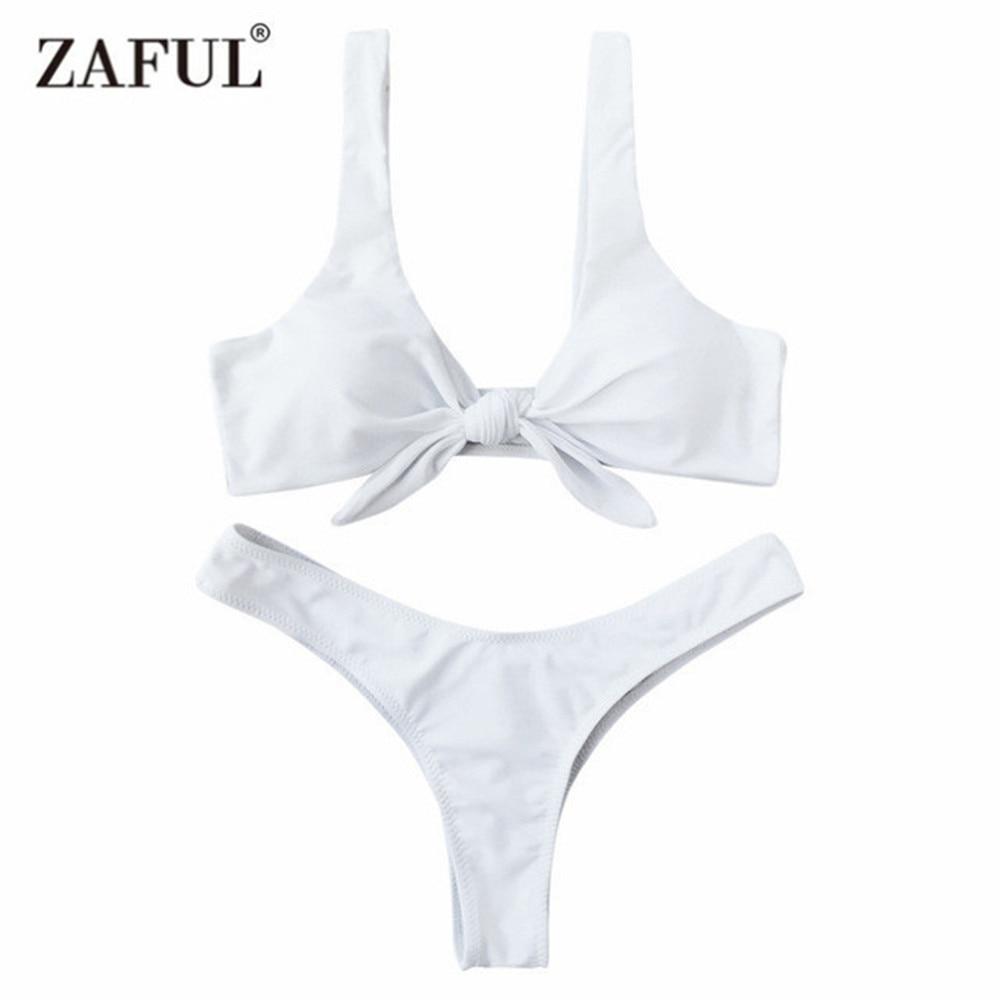 Zaful Swimsuit New Arrival Women Knotted Padded Thong Bikini Mid Waisted Solid Color Scoop Neck Brazilian Biquni Beach Swimwear white color block scoop neck padded design bikini