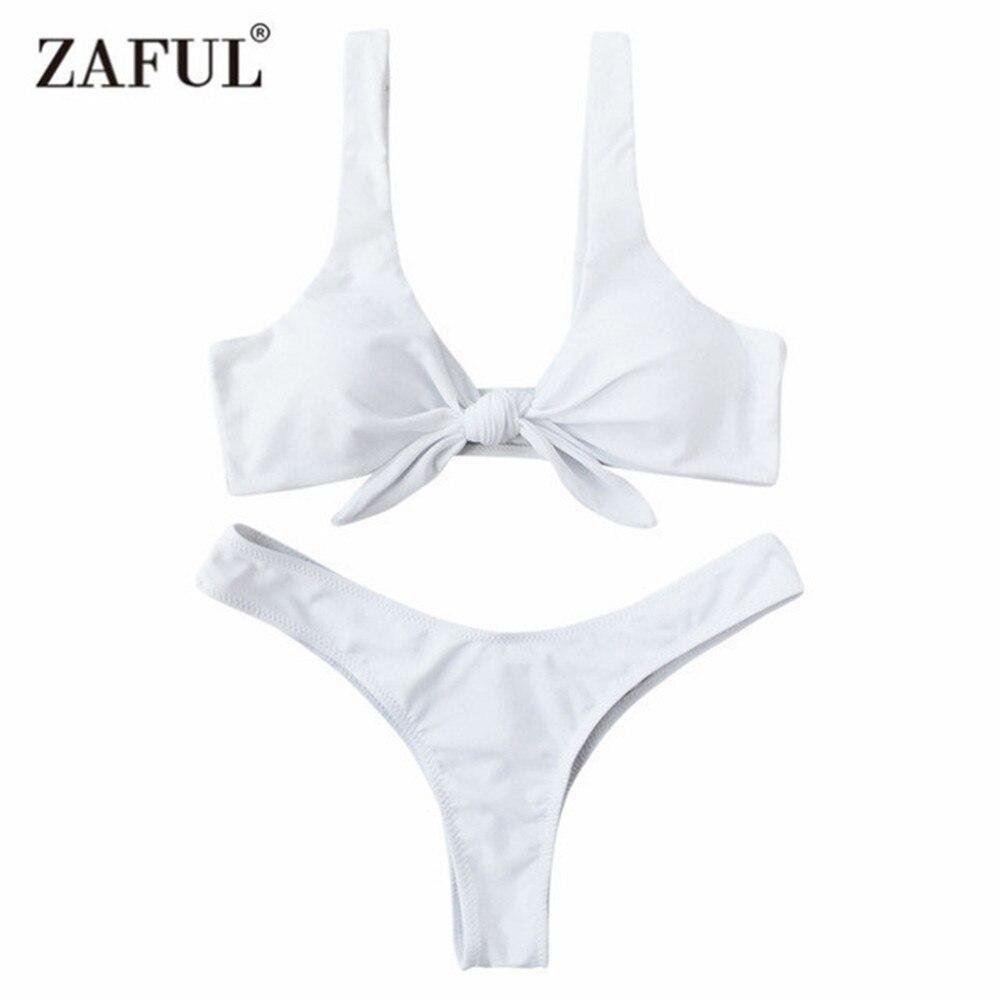 Zaful Swimsuit New Arrival Women Knotted Padded Thong Bikini Mid Waisted Solid Color Scoop Neck Brazilian Biquni Beach Swimwear
