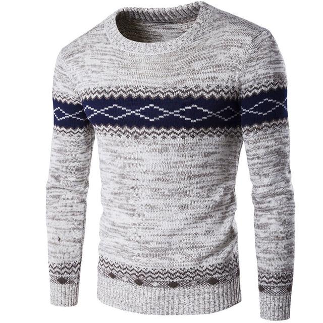 Camisola Homens 2017 Marca Capuz da Camisola Casual Masculino O-pescoço Geométrica Padrão Slim Fit Dos Homens de Tricô Sweaters Pullover Homem Homens R