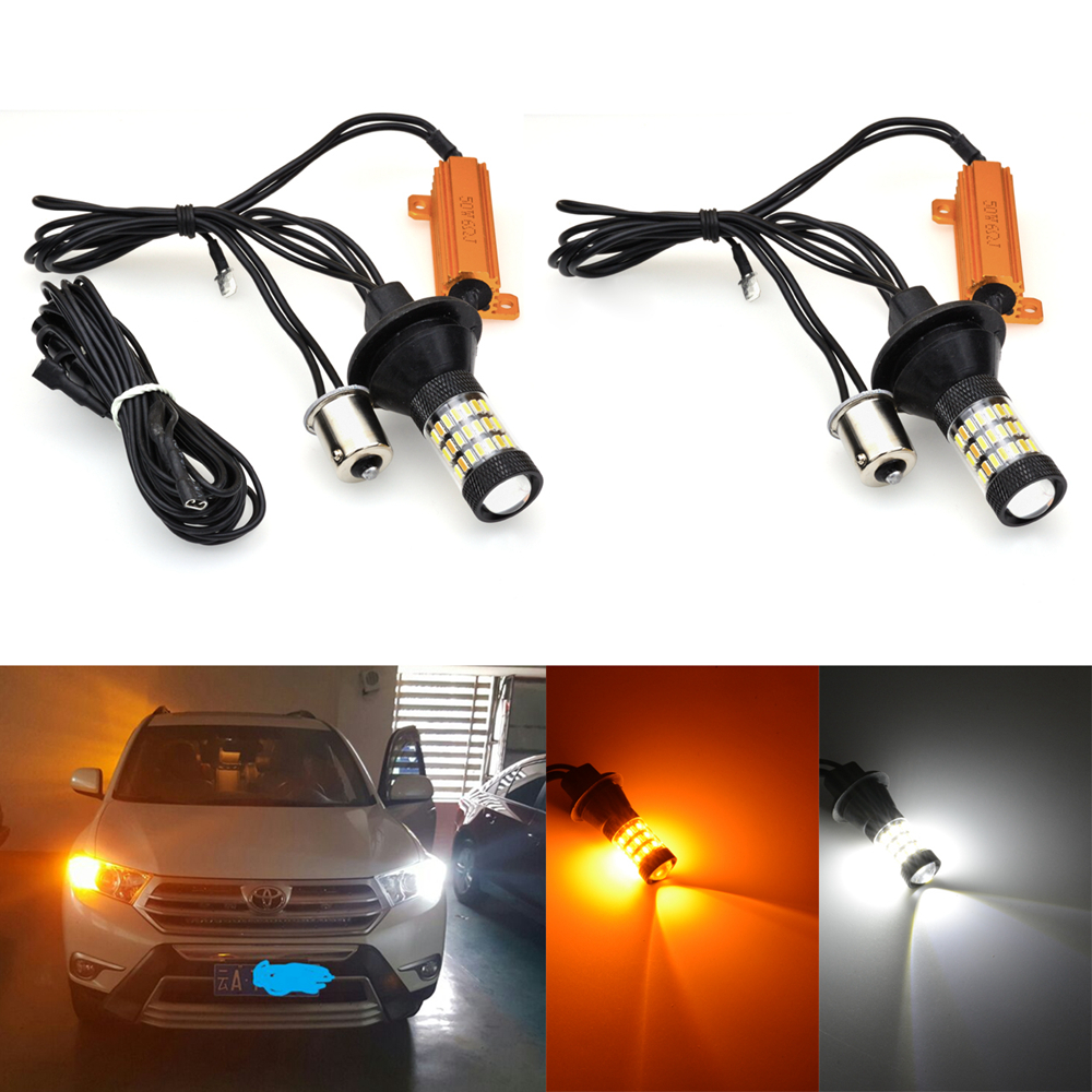 2x  Error Free Dual Color 3157 Yellow White 60SMD LED Switchback Light+Resistors
