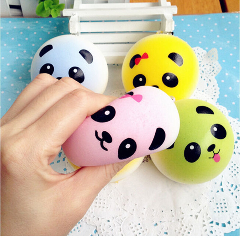 4CM Color Cartoon Panda Bread Soft Squeeze Stretch Compress Squishy Decompression Kids Doll Toys Art Mobile Phone Straps