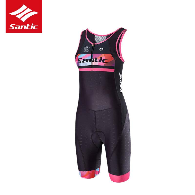 цена на Santic Women Triathlon Suit 4D Padded Breathable Sleeveless MTB Road Tri Bike Bicycle Cycling Suit One-piece Ropa Ciclismo 2017