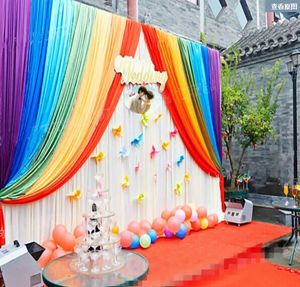 Rainbow Background Curtains For Birthday Party Decortion Wedding Party Supplies Backdrop In
