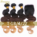 3 Pcs/lot 100g/pcs T1B/4/27 Virgin Peruvian Hair Extensions With Lace Closure Blonde Ombre Human Hair Bundles With 4x4 Closure