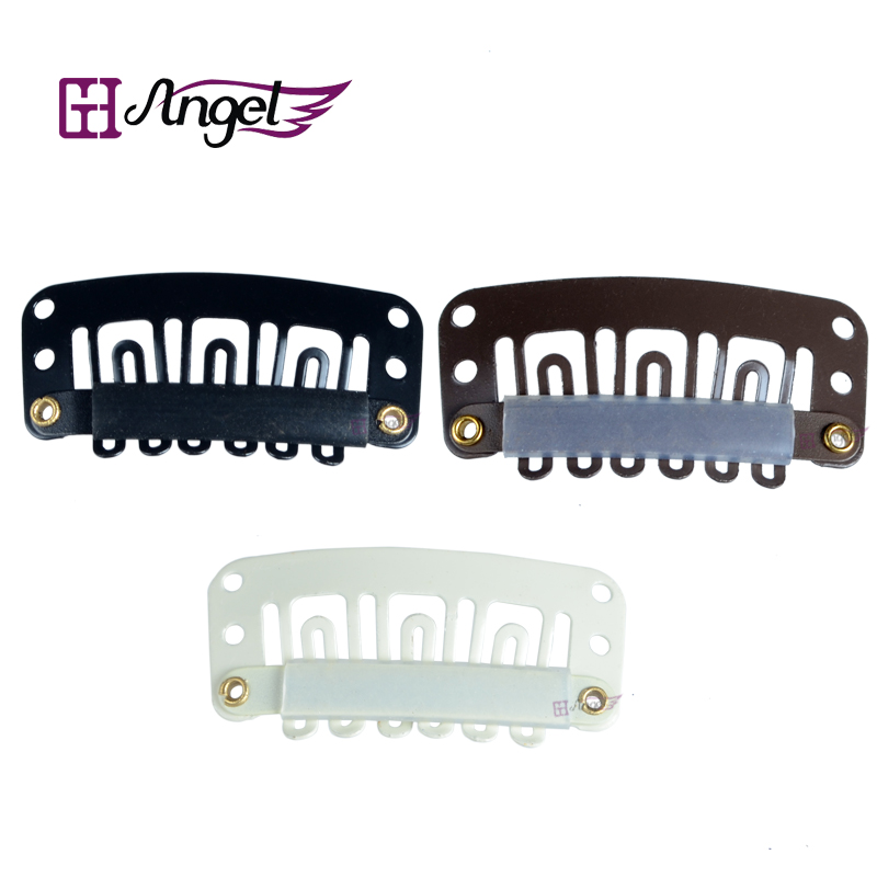 6bags 6000pcslot 32mm Hair Extension With U Tip Snap Metal Clips with silicone back Black Blonde