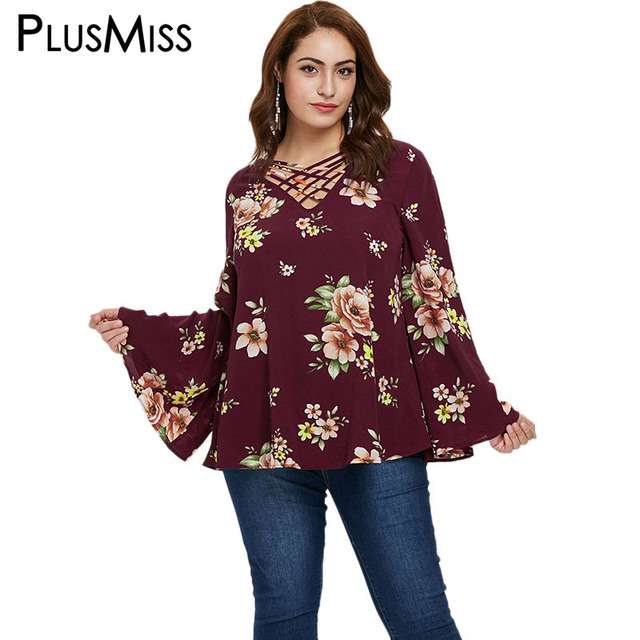 6f1183d8eb2ee PlusMiss Plus Size 5XL Floral Printed Bell Flare Sleeve Blouse Women Lace Up  Flower Loose Beach Boho Tops Ladies Big Size Spring