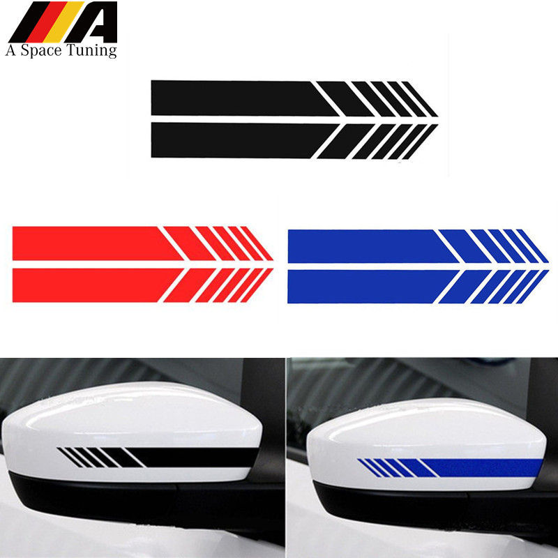 Reflective Car Sticker Rearview Mirror Side Stripe DIY Decal Exterior Accessories For Benz BMW Toyota Ford Audi Volkswagen Mini(China)