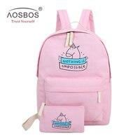 Aosbos 2ピース/セットキャンバスバックパック代の少女プレッピースタイルかわいいスクールバッグカジュアル女性漫画プリント旅行バックパックセット