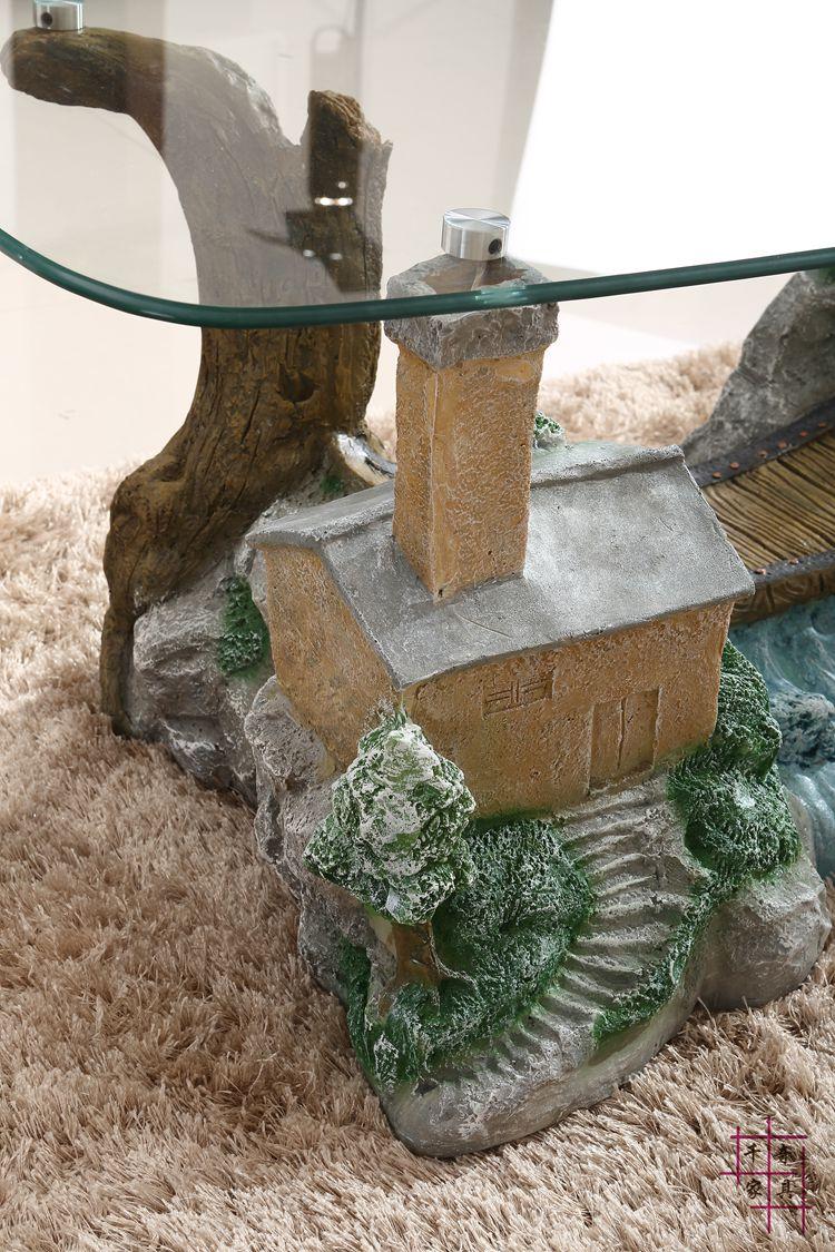 Пейзаж чайный столик. Художественный личности закаленное стекло сочетание небольшой семьи модные идеи гостиной чайный столик