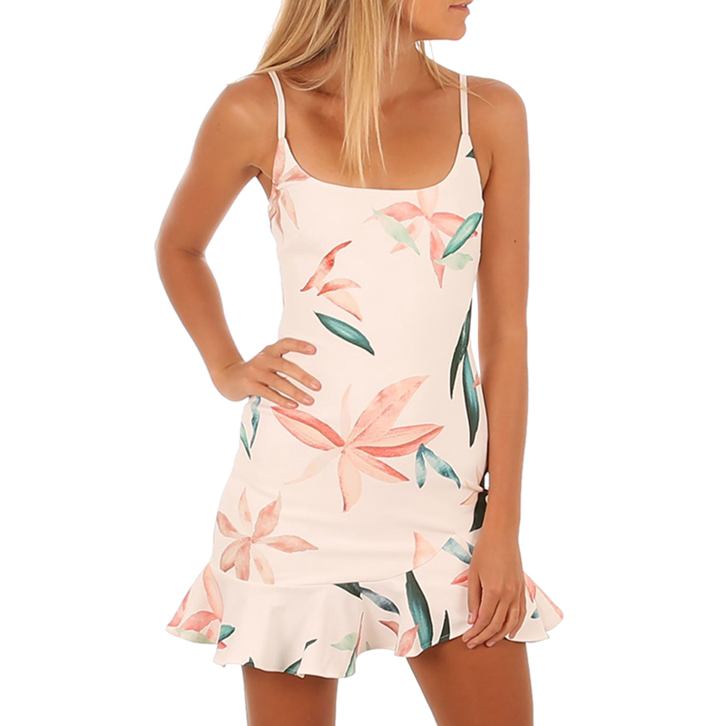 Women Floral Print High Elasticity Mini Dress Square Collar Sleeveless Ruffle light and thin style Casual Beach Dress Mar14