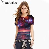 نيس المحيط يلة قطعة الفضاء 3d الطباعة ر قميص المرأة قصيرة كم س الرقبة المحملات الصيف قمم عارضة زائد الحجم ملابس زوجين فاسق