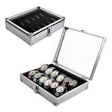Watch 6/12 Grid SlotsJewelry Watches Aluminium Alloy Display Storage Box Case storage box Aluminum Useful