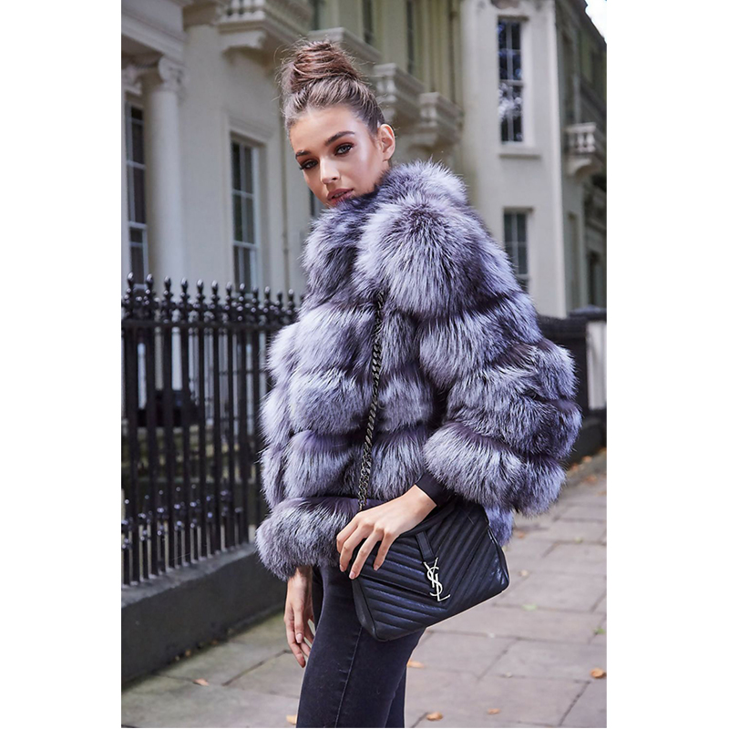 Et Bas Silver Mince Fursarcar Naturelle De D'hiver Manteau Réel Femmes Luxe Manteaux Nouveau Col Renard Le Veste Fourrure Vers Fox tqSwqagRU