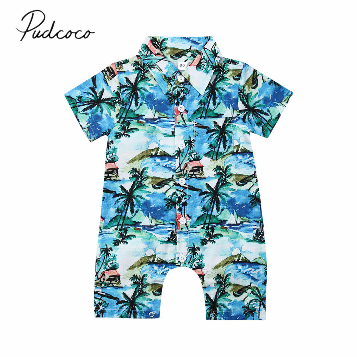 2019 Baby Summer Clothing Infant Baby Boy Romper Hawaii Jumpsuit Short Sleeve Romper Clothes Playsuits Outfit Beachwear 0-24M