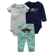 newborn baby boy romper+pant 3 piece set cotton letter print 2019 new spring autumn baby girl jumpsuit set roupa infantil
