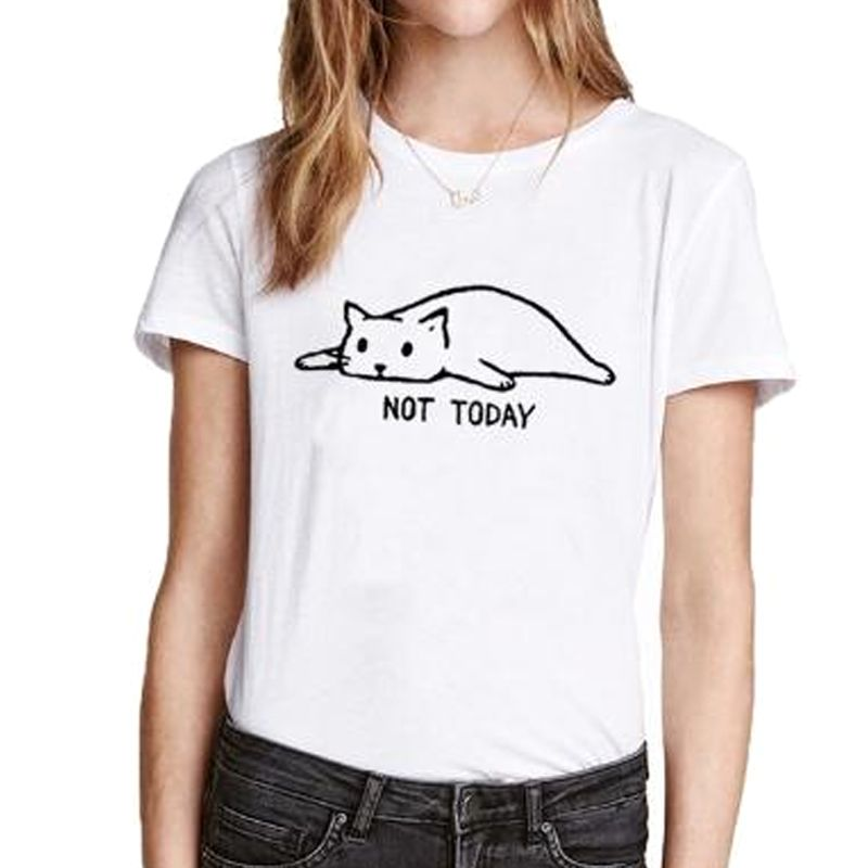 2019 New Sleeping Lazy Cat Print Women T-Shirt Summer Short Sleeve Funny Tee Female Casual Hipster Popular Loose Pullover Tops