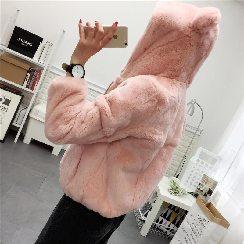 Ear Hooded Whole Skin Real Rex Rabbit Fur Coats Outerwear Women Zipper Lovely Sweet Natural Fur Jackets for Autumn and Winter