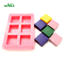 Nicole Silicone Soap Mold 6-Cavity Rectangular Loaf Bar Mould for Handmade