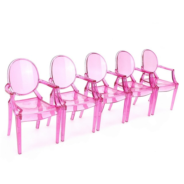5pcs/set 1:6 Scale Doll House Dollhouse Miniature Armchair Furniture Chair For Children Dolls House Accessories Random Color