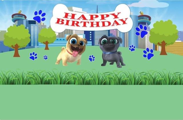 7x5FT Green Garden Happy Birthday Puppy Dog Pals Custom Photo Background Studio Backdrop Vinyl 220cm x 150cm