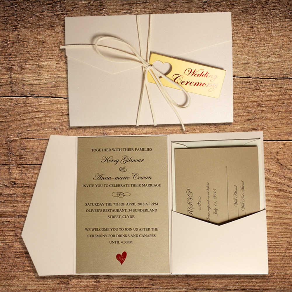 Pearl White Pocket Wedding Invitations With Golden Invite