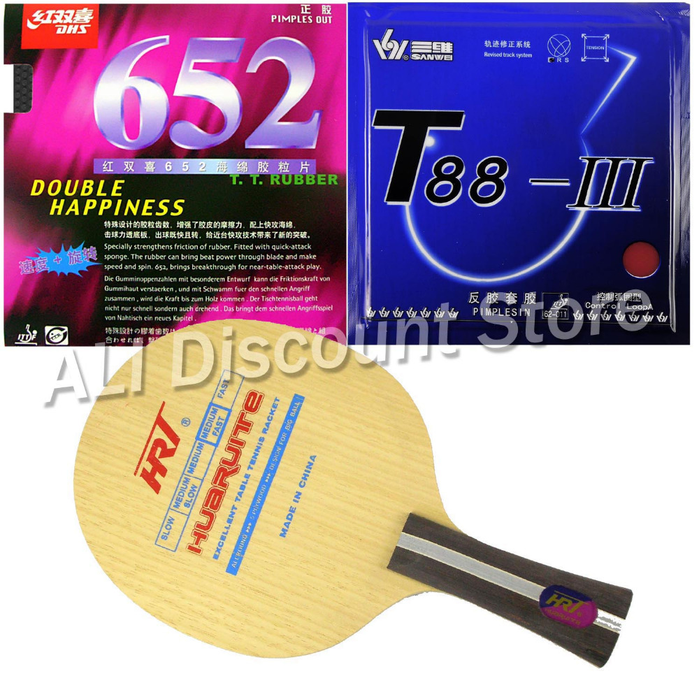 HRT 2077 Blade with DHS 652 and Sanwei T88- III Rubbers for a Table Tennis Combo Racket FL hrt 2091 blade with ktl pro xp and palio cj8000 biotech rubbers for a table tennis combo racket fl