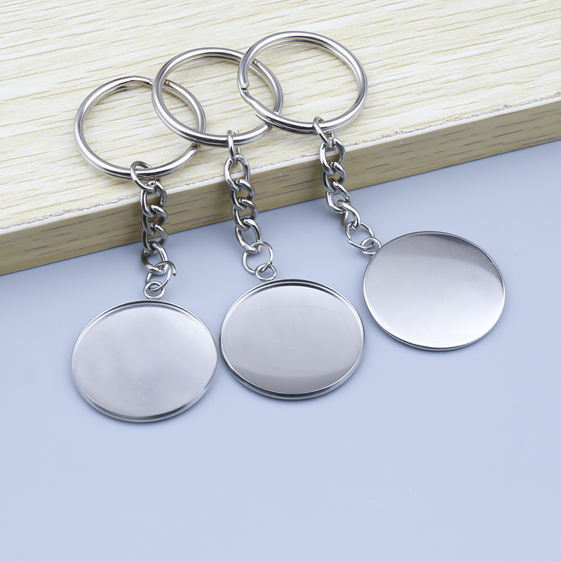5pcs Round Cabochon Stainless Steel Key Ring Handmade Metal Key Chain Glass Cabochon Keychain Base Setting Diy Jewelry Findings