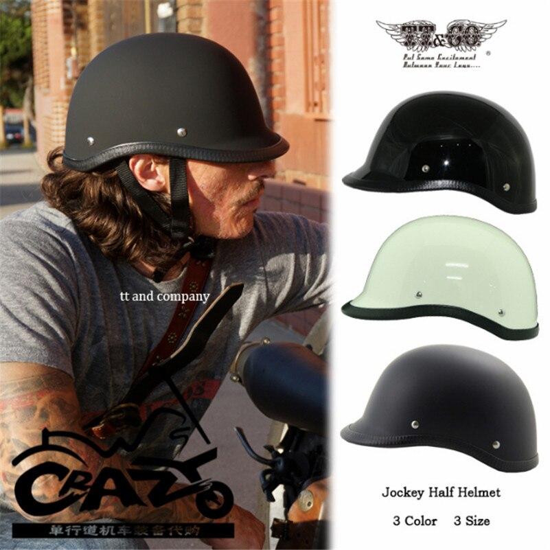 TT & CO Japonais Thompsonjockey moitié casque Harley croisière moto casque casque moto super magnum petit jet casques