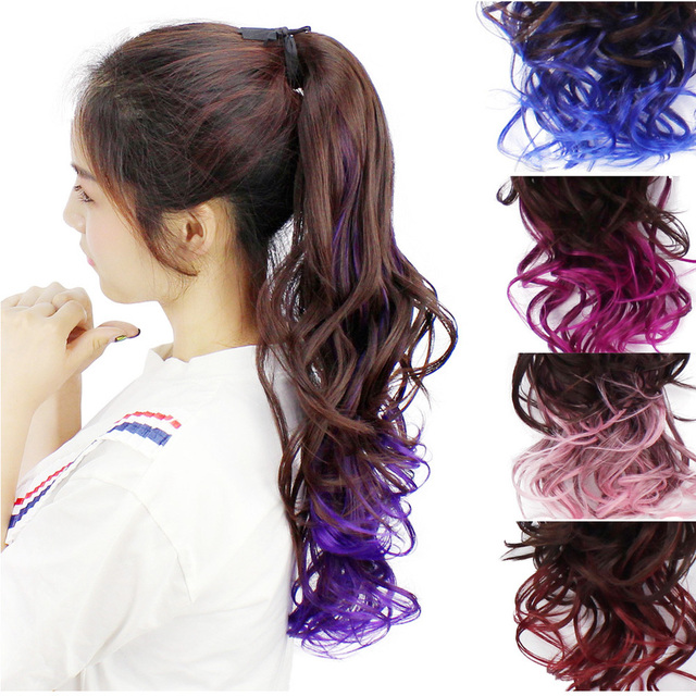 Woman Gradual Change Color Highlights Colour Bandage Type Will Wave