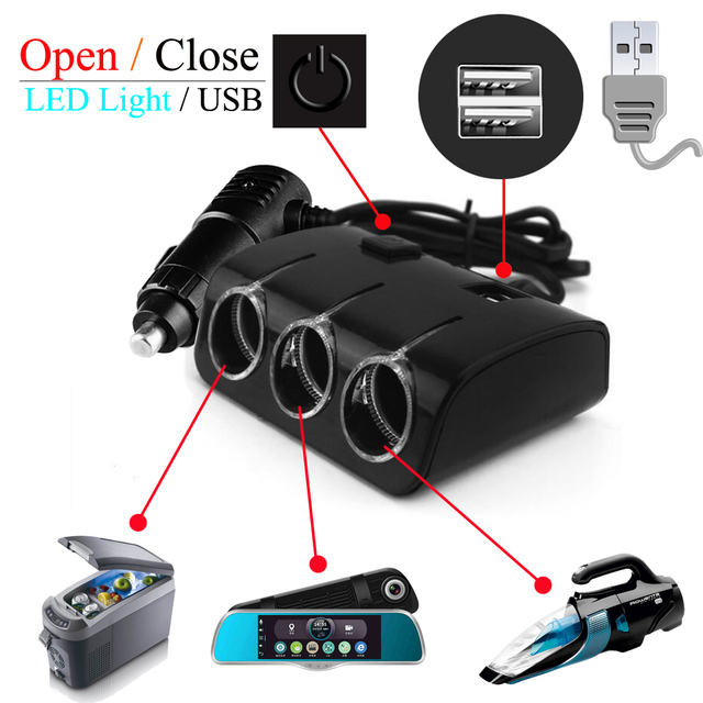 Truck Cigarette Lighter Adapter Car Splitter Power Adapter USB Vehicle charger Socket For IPhone IPad Phone DVR GPS with Lights
