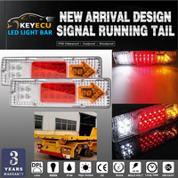 KEYECU PAIR 19 LED Trailer Truck RV ATV Turn Signal Running Tail Light White Amber Red