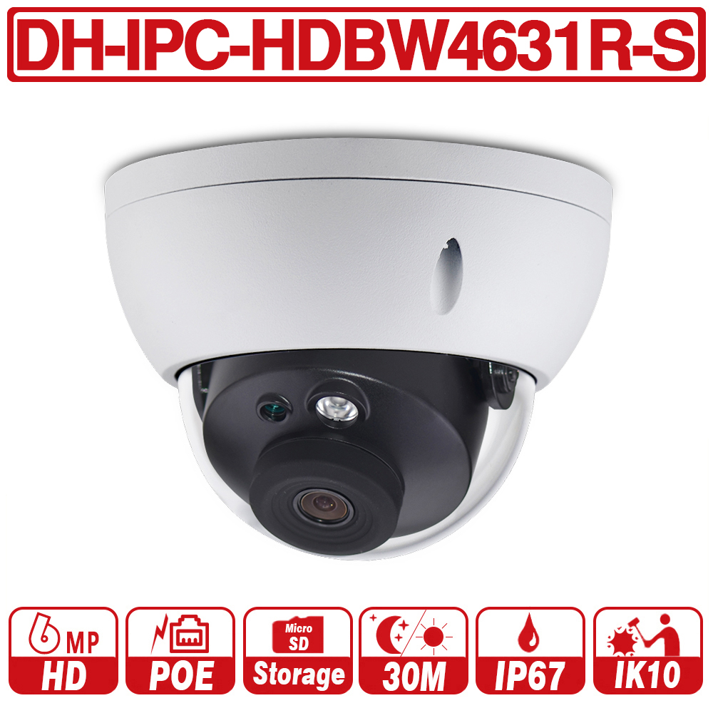 DH IPC HDBW4631R S with logo 6MP IP Camera POE Camera Support IK10 IP67 POE SD