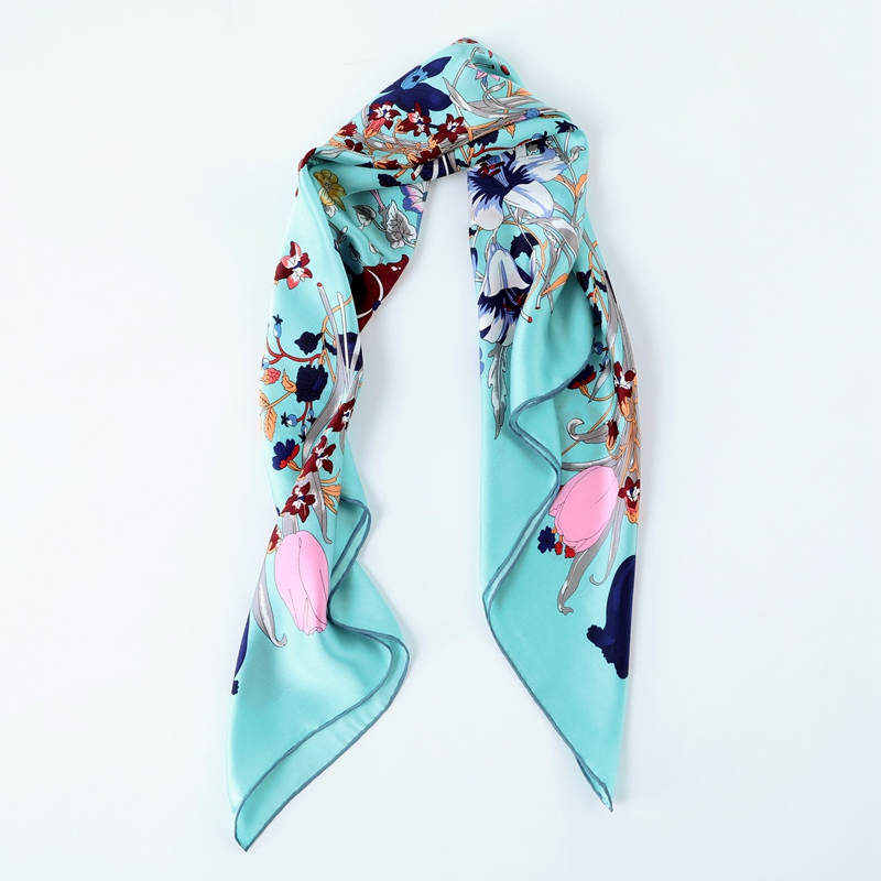 Blossom Floral Print 100% Soft Satin Silk   Scarf     Wraps   Foulard Women Quality Charming Large Square Silk   Scarf   Shawl 88x88cm