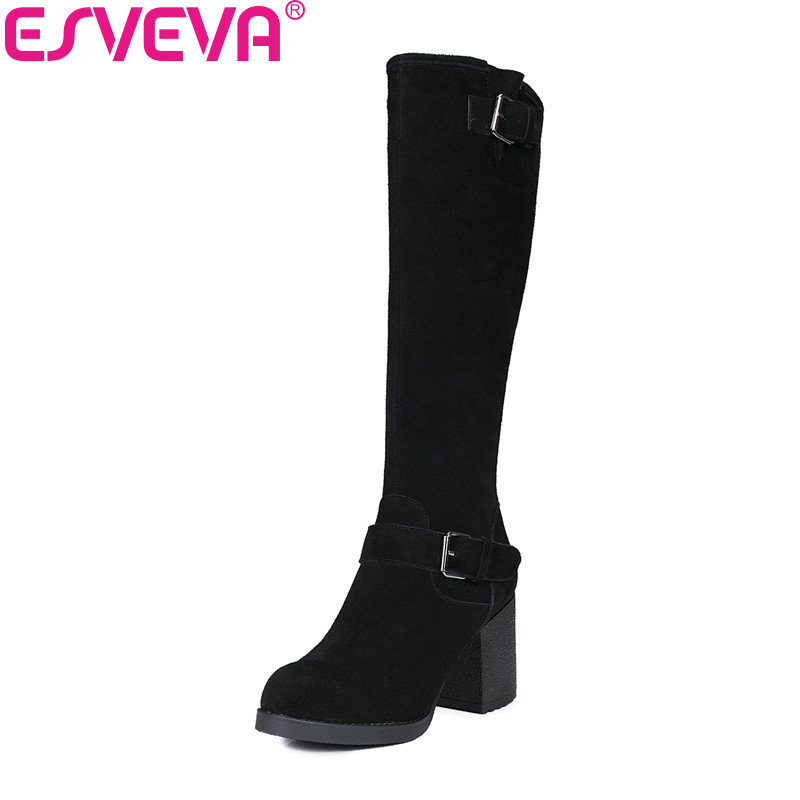 ESVEVA 2018 Women Boots Square High Heels Cow Leather + Scrub Buckle Ladies Shoes Winter Short Plush Knee-high Boots Size 34-39 esveva 2018 women boots sweet style zippers square high heels pointed toe ankle boots chunky short plush ladies shoes size 34 39