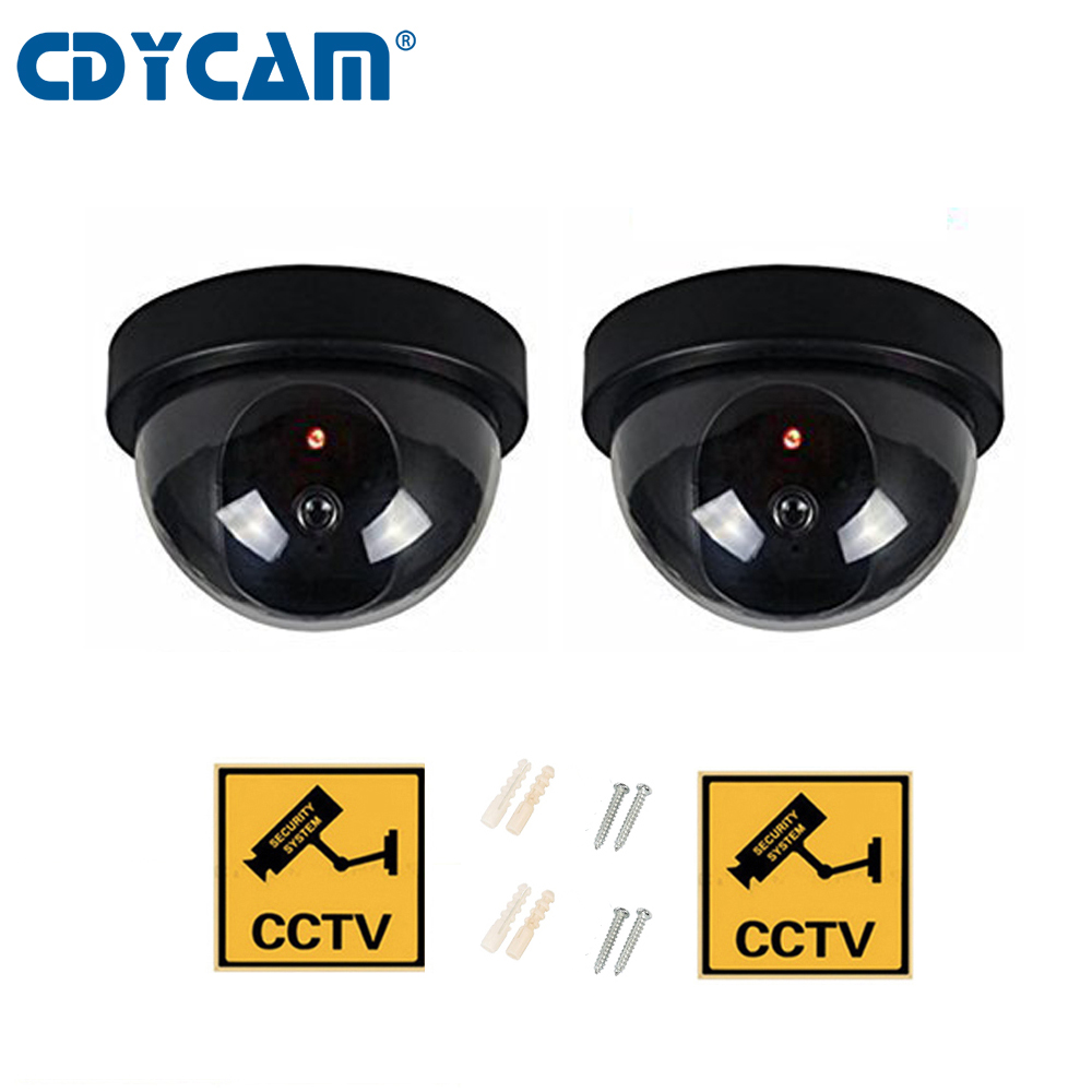 CDYCAM 2pcs(1 bag) Fake Dome camera Dummy Fake Security Camera with Flashing Red LED Light CCTV Alert Warning Sticker Signs