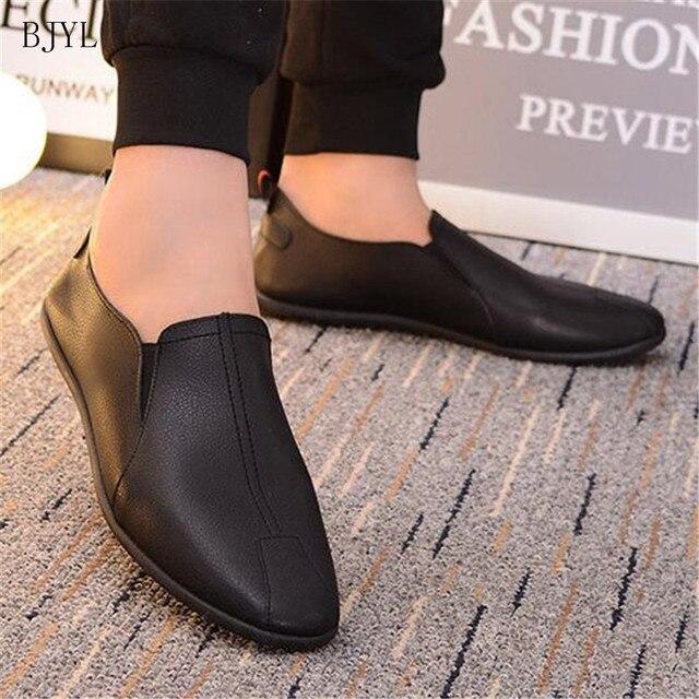 527123d6 BJYL de verano zapatos cuero los hombres 2019 Casual mocasines para hombre  transpirables Slip negro conducción B70