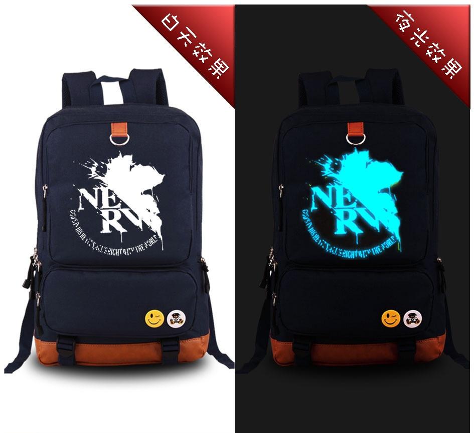 2017 Neon Genesis Evangelion Eva Maple Leaves Luminous Printing Laptop Backpacks School Bags For Teenagers Men Women Rucksack