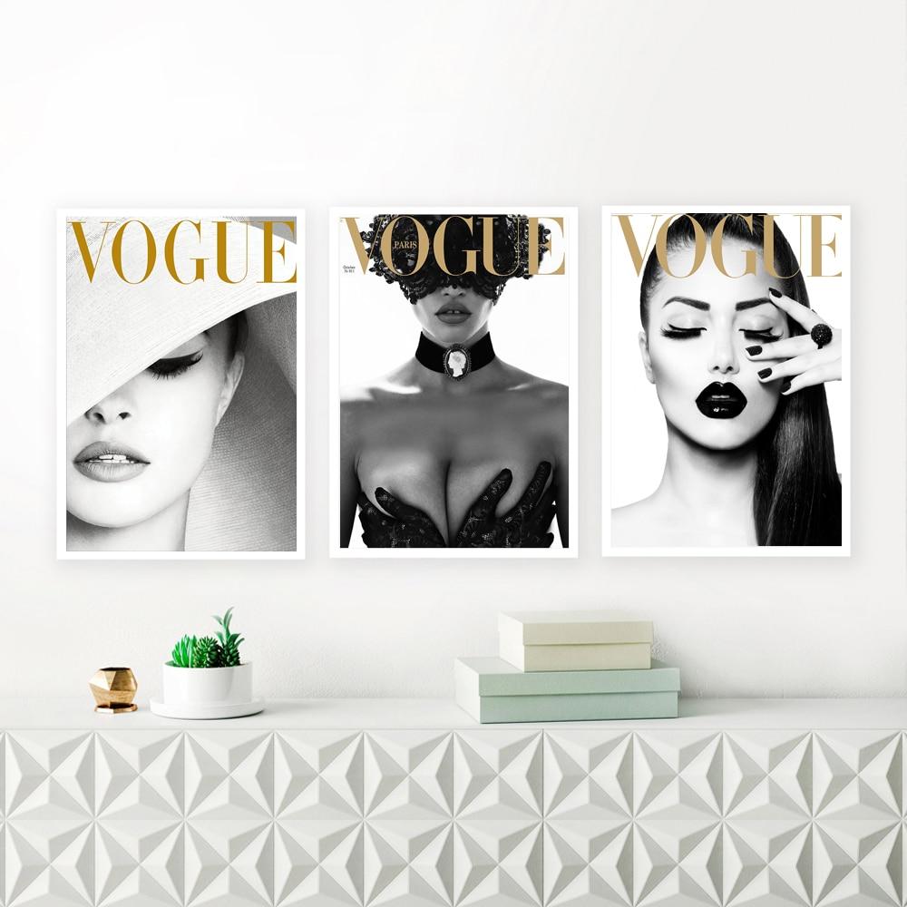Vogue Abdeckung Weiß Hut Kunst Leinwand Malerei Wand Bilder Mode Fotografie Leinwand Kunstdrucke Und Poster Sexy Damen Room Decor