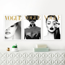 Vogue Cover White Hat Art Canvas Painting Wall Pictures Fashion Photography Prints And Posters Sexy Ladies Room Decor