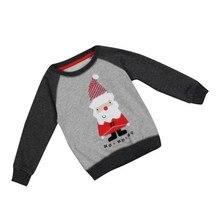 Осень-зима Санта Клаус», Узорчатая толстовка, одежда модные детские теплые футболки для детей Рождественская одежда Новое поступление j2