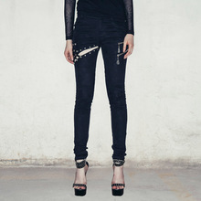 Devil Fashion Sexy Black Slim Fit Gothic Pants Trousers for Women Punk Skeleton Zipper Pockets Hollow Out Thick Ladies Leggings devil fashion women slim fit black ripped emo gothic punk denim pants with tears and belts vintage ladies steampunk damage jeans