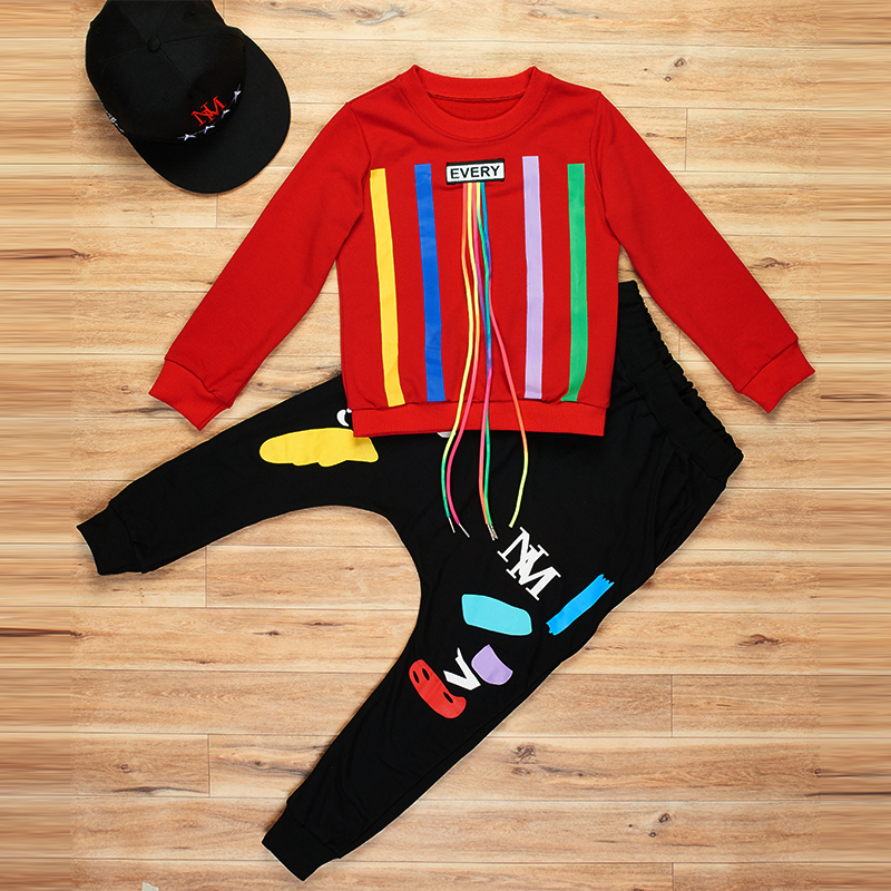 7 Bibihou new spring autumn kids clothes sets children 2 pcs Hip hop suit Shirt coat + Harem pants baby boys sport suits Color bar
