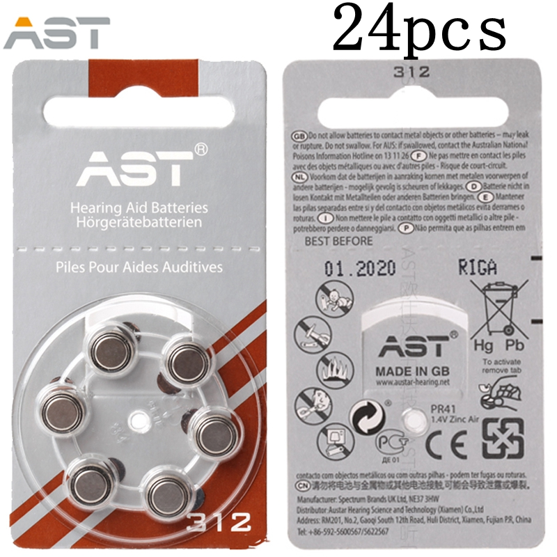 24pcs AST Hearing Aid Batteries A 312 A ZA312 PR41 S312 312 Zinc Air battery for hearing aids guangzhou feie deaf rechargeable hearing aids mini behind the ear hearing aid s 109s free shipping